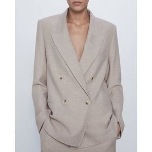 Straight Cut Double Breasted Blazer